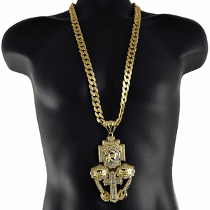 "Gold Jesus Combo 33"" Cuban Chain"