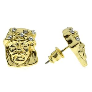 Short Jesus Head Gold Earrings