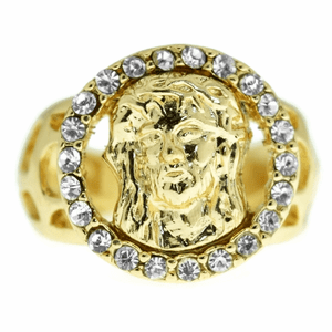 Round Jesus Face Gold Hip Hop Ring