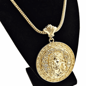 "Jesus Medallion Gold 36"" Franco"