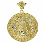 Huge Jesus Gold Medallion Pendant