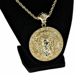 "Gold Jesus Chain Medallion 30"" Rope"