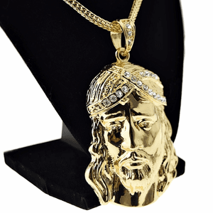 "Huge Jesus Gold 36"" Franco Chain"