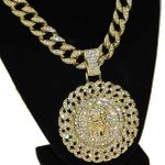 Gold Cuban Jesus Medallion Chain 30""