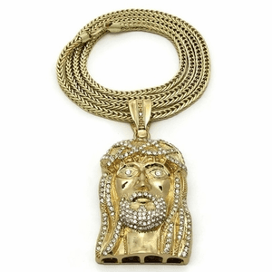 "Jesus Head Gold 36"" Franco Chain"