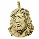 Jesus Bling Crown Gold Pendant