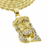 "Micro Jesus Head Gold 24"" Rope"