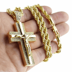 "Jesus Crucifix 30"" Rope Chain"