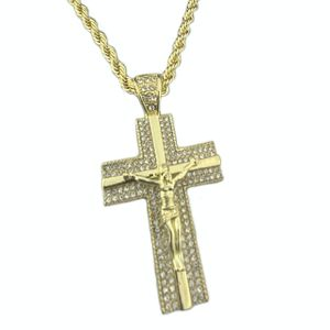 "Jesus Piece Crucifix 30"" Rope Chain"