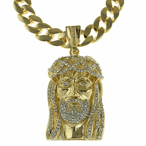 "Gold 33"" Cuban Link Jesus Iced Chain"