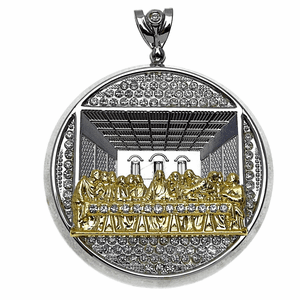 Last Supper Round Silver/Gold Charm