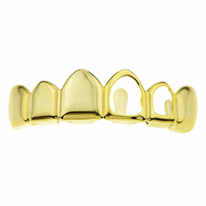 Gold Top Left 2 Open Face Grillz