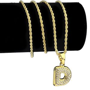 14K Gold Plated D Letter Micro Chain