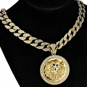 "Lion Head Coin 18"" Cuban Chain"