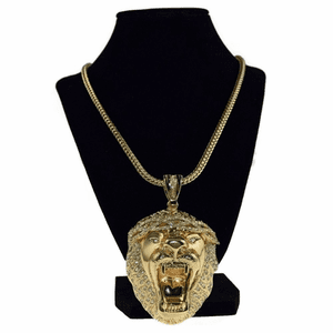 "Lion Head Gold 36"" Franco Chain"