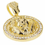 Lion Head Gold Coin Pendant