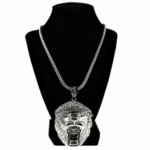 "Lion Head Silver 36"" Franco Chain"