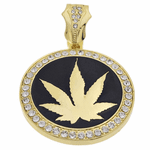 Weed Black Gold Coin Pendant