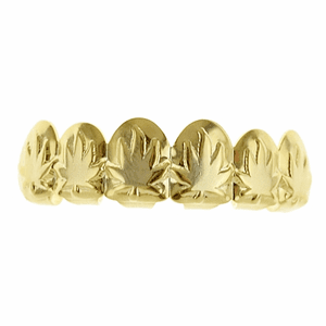 Gold Weed Leaf Top Grillz