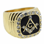 Mason Gold Tone Blk Oil Square Ring