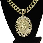 Gold Cuban Masonic Medallion Chain 30""
