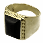 Gold over 925 Silver Black Onyx Ring