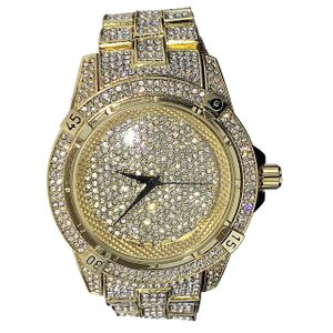Mens Big Face Micro Pave Gold Watch