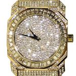 Mens Gold Iced-Out Baguettes Watch