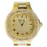 Mens Classy Gold Iced-Out Watch