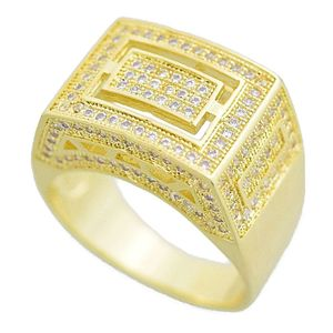 Gold Rectangle CZ  Ring 16MM x 13MM