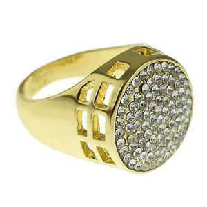 Round Micro Pave Gold Bling Ring