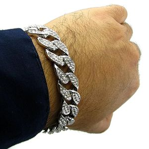 Silver Full Bling Cuban Bracelet 8""