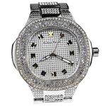 Mens Classy Silver Iced-Out Watch