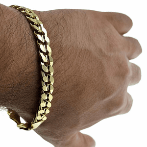 "9"" x 9MM Gold Curb Bracelet"