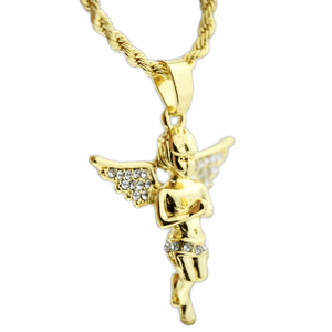 Micro Angel Gold Rope Chain 24""
