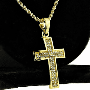 Micro Gold Curved Cross Rope Chain