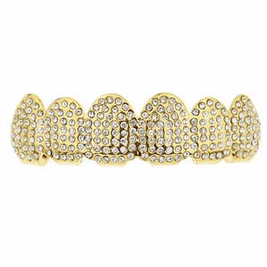 Gold Micro Pave Top Teeth Grillz