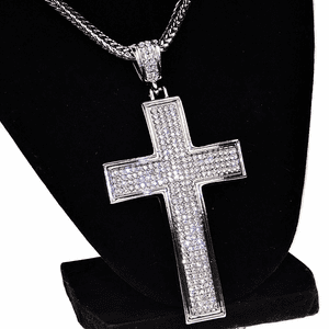 "Chunky Cross Silver 36"" Franco Chain"