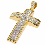 Micro Pave Gold Cross Pendant