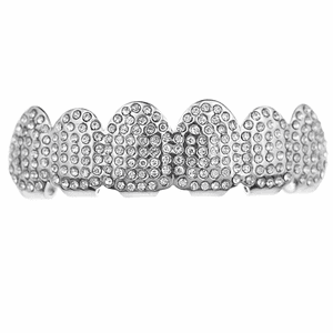 Silver Micro Pave Top Teeth Grillz