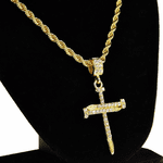 Nail Cross Gold Rope Chain 24""