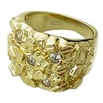 14k Gold Plated 925 Iced Nugget Ring