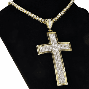 "One-Row Gold 18"" Cross Choker"