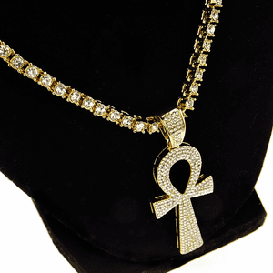 "One-Row Gold 24"" Ankh Chain"