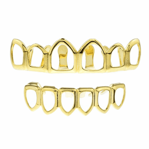 Gold 6 Open Face Teeth Grillz Set