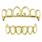 Gold 6 Open Face Fang Grillz Set