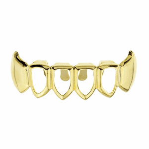 Gold 4 Open Bottom Teeth Fang Grillz