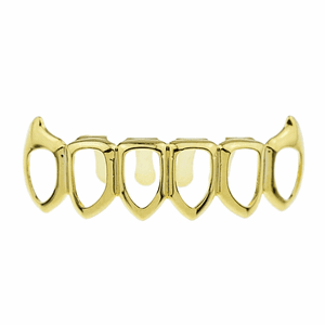 Gold 6 Open Face Bottom Fang Grillz