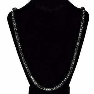 One Row Black Tennis Chain 30""
