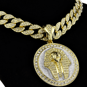 "Pharaoh 20"" Glitter Coin Cuban Chain"